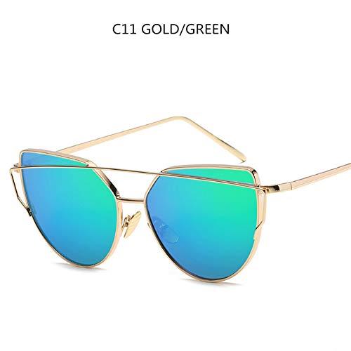 WTACK Cat Eye VintageSonnenbrille Für Frauen Metall Twin-Beams Rose Gold Spiegel Sonnenbrille Weiblich