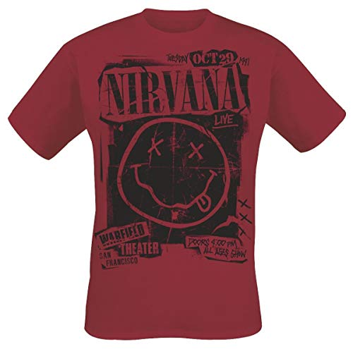 Nirvana Band Poster Camiseta Rojo L