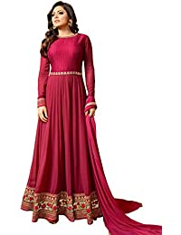 Ank Women's Pink Banglori & Georgette Embroidered Long Semi-Stitched Salwar Suit