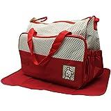 Trendy Red Colour Multi-Purpose Diaper Bag/Nappy Bag (Set Of 5) …