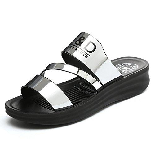 Damen Pantoffeln Metall Plateau Einfach Cool Leicht Weich Bequem Atmungsaktiv Strapazierfähig Straße Freizeit Schick Schuhe Silber