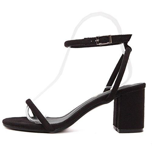 Odomolor Donna Plastica Punta Aperta Tacco Medio Fibbia Puro Sandali Nero