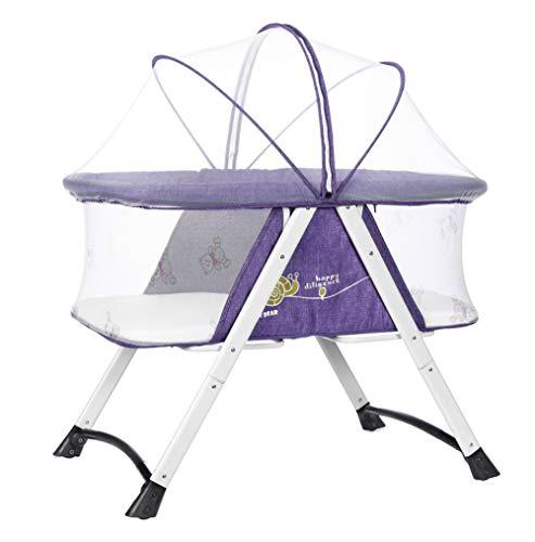 Cuna de viaje plegable portátil con mosquitera con ruedas fácil de mover regalos para niños de 0 a 3 años de edad morado morado