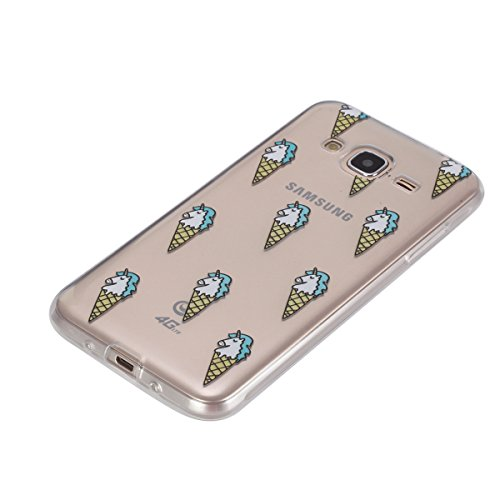 JAWSEU Coque Etui pour Samsung Galaxy J3/J3 2016,Samsung Galaxy J3/J3 2016 Coque en Silicone Transparent,Samsung Galaxy J3/J3 2016 Silicone Coque Cristal Clair Etui Housse,Samsung Galaxy J3/J3 2016 So crème glacée