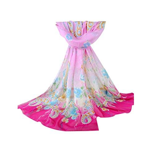 Transer ® Femelle Écharpes,Mode Dressystar Femmes élégant foulard imprimé Section longue écharpe en mousseline de soie de foulards Belle Accessoires Taille: 160 * 50cm B
