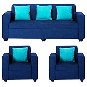 Bharat Lifestyle Desy 5 Seater Sofa Set 3+1+1 (Blue)