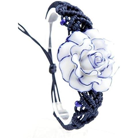 Andonger Cinese fatti a mano Retro Rose Bracciale in ceramica, braccialetto registrabile, un regalo per le donne