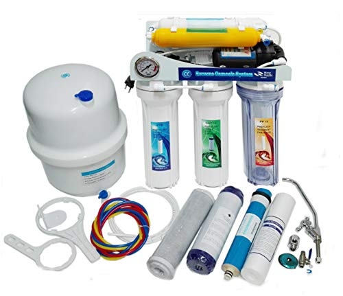 Osmosis inversa Moon UV, 7 etapas. Bomba Manometro, Remineralizador, Ultravioleta y Grifo Lux, Membrana 75 GPD