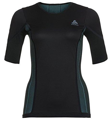 Odlo Damen SUW Crew Neck Performance Windsh Unterhemd, Black/Blue Radiance, M