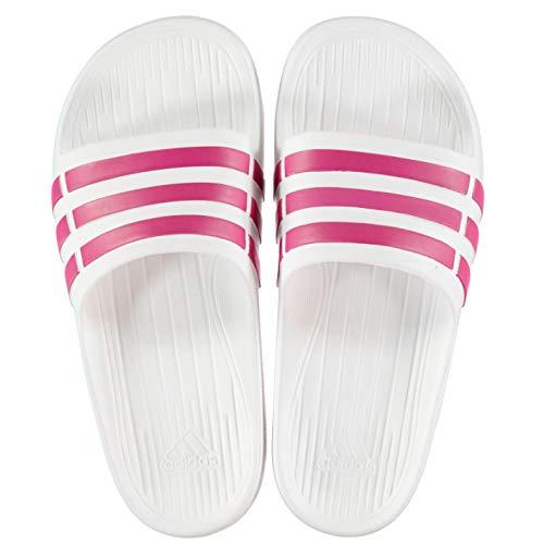 Adidas duramo slide - sandali unisex da adulto, bianco (white/pink), 36 2/3 eu