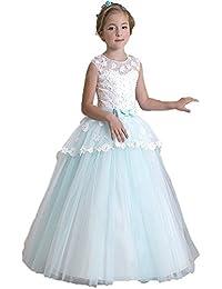 KekeHouse® Bambina Fiore Abiti Per sposa Perle pizzo floreale Principessa vestito  da spettacolo Blu vestito 352076567b3