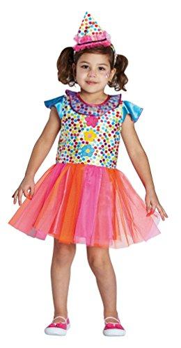 lown-Kostüm Kinder Mädchen bunt gepunktet mit Blumen Kleid Größe 116 (Mädchen Clown Halloween Kostüme)