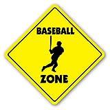 SignMission Baseball Crossing Sign Zone Xing  -  30,5cm Hoch Player Fan Jungen Raum Team Coach Bat Handschuhe Softball