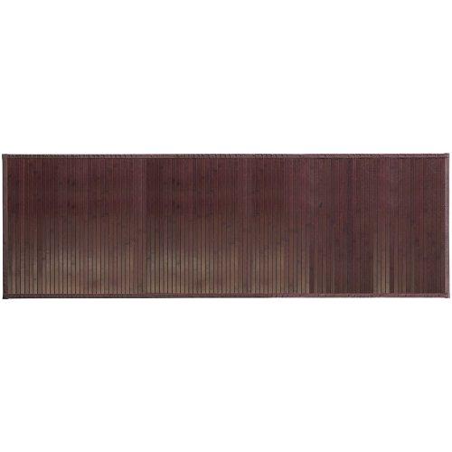 InterDesign Formbu Alfombra antideslizante, alfombrilla de bambú extra larga, estera alargada, marrón moka