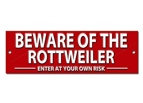 Vintage Sign Designs Beware of the Rottweiler Enter at Risk