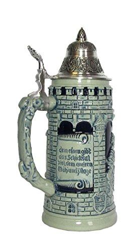 Blue German Beer Stein life is a game of dice Knight Stein 0.5 liter tankard, beer mug