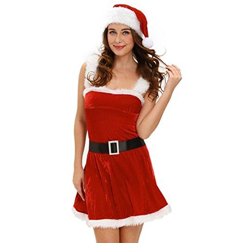 hten Frohes neues Jahr Masquerade Party Sexy Ärmelloses Tube Top Kneelength Kleid Fräulein Santa Claus Kostüm Kleidung Fancy Dress, One Size (Sexy Masquerade Kleid)