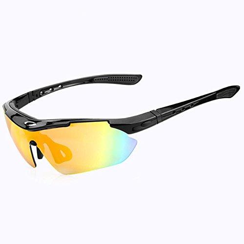 Outdoor Sports Goggles Anti-UV Polarisierende Sonnenbrille Fahrrad Reiten Ski Brille für Mann und Frau , Black