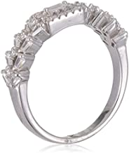 Azaleas Ring 925 Silver Caliber Rhodium Plated, Inlaid With Zircon And Baguette Stones