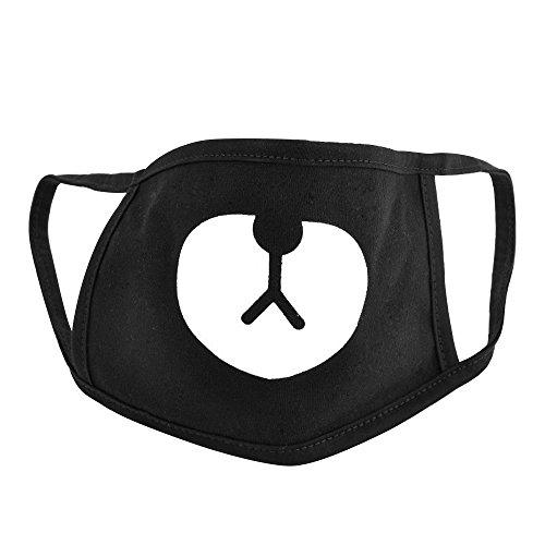 Sanwood® Unisex Schwarz Cute Bear Baumwolle Gesicht Mund Radfahren Anti-Staub Maske, schwarz