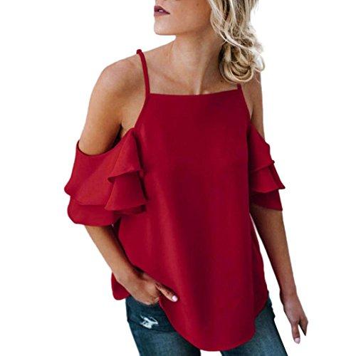 ec171eb024b59f Malloom Été Femme Large de l épaule à Manches Courtes Blouse t-Shirt