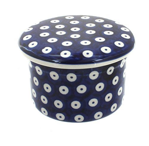 polish-pottery-dots-french-butter-dish-by-blue-rose-pottery