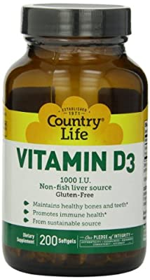 Country Life Vitamin D3 Non fish liver source (200 softgels 1000iu) by Country Life