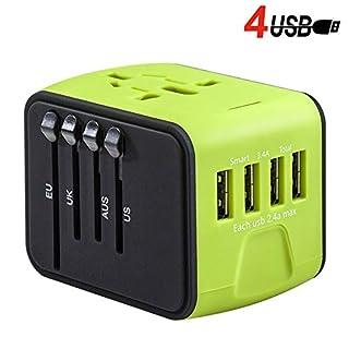 SHUXMulti-Function Conversion Plug, 4USB Universal Power Plug Converter, Global AC Socket Plug Adapter, Intelligent High-Speed Wall Charger, Suitable For Europe, UK, USA, Australia, Asia (Green)