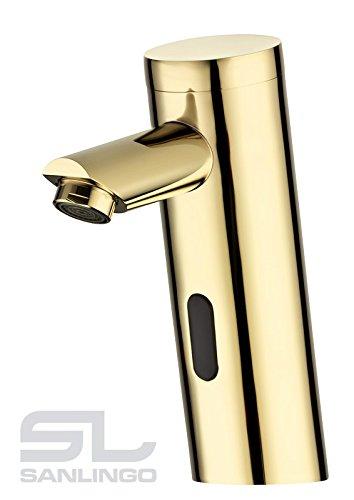 Sanlingo - Infrarot-Waschtisch-Armatur, Sensorarmatur, Temperaturregulierung, Batterieversorgung, Gold