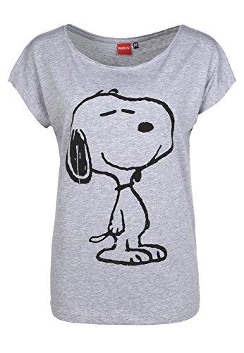 Sublevel Damen T-Shirt Oversize mit Snoopy Aufdruck | Frauen Shirt Einfarbig mit Print Kurzarm | Logo Print Light-Grey XS