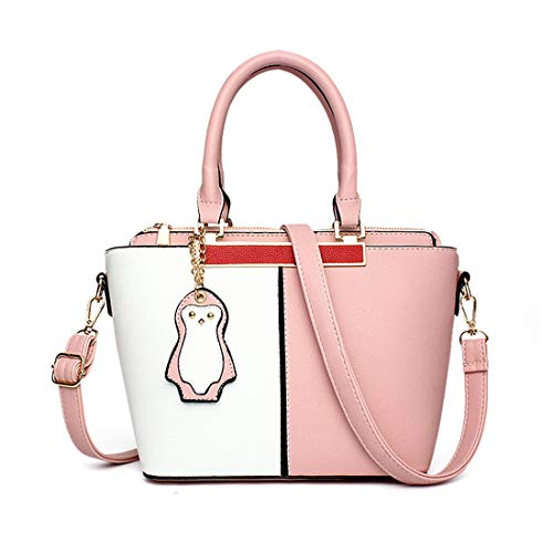 Eastery Damen Kunstleder Handtaschen Leder Handtasche Schulter Naht Pinguin Frauen Designer Einfacher Stil Taschen Tote Schulter Taschen Schöne Trendy Edles Handtasche - Tote Stil Schulter Tasche
