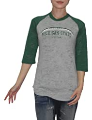 NCAA Michigan State Spartans Femme Slim Fit 3/4 Sleeve Vintage T Shirt