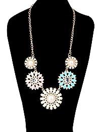 Fashion Charm Farbe Harz Strass Blumen-Form Kragen Kollier Halskette
