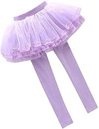 Legging Chico Falda Algodón - Legging con Falda Chicas Pantalones Danza Pantalones Otoño Primavera Falda Gasa Para 1-12 Año Morado Rosado Azul Mxssi