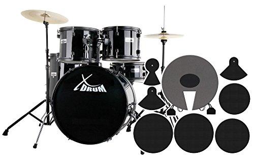 """XDrum Rookie Schlagzeug Set Drumset Schwarz (22"""" BD, 12"""", 13"""", 16"""" TT, 14 SN, Übungsbecken bestehend aus einem Satz Hi-Hat-Becken 14"""" und 1 Crash-Ride-Becken 16"""", inkl. DVD und Schlagzeugdämpferset)"""