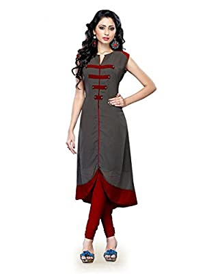 "Kenil Fabrics Women's Cotton Kurti (Ken-Gray_Grey_Free Size) - Grey NOTE:- ORIGINAL PRODUCT SOLD BY ""Kenil Fabrics"" ONLY."