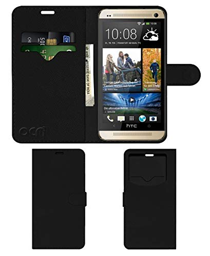 Acm Leather Window Flip Wallet Front & Back Case for HTC One M7 Mobile Cover Black