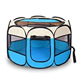 MRKE Pop-up Hundezelt Tragbare Faltbare Wasserdicht Laufställe Welpenlaufstall Tierlaufstall Haustier Zelt für Kleintiere Wie Hunde Size 73 * 73 * 43cm (Blau + Beige)