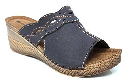 INBLU Femme Mule en cuir Wedge plate-forme d'été Sandales Taille 3–8 Bleu - Bleu marine