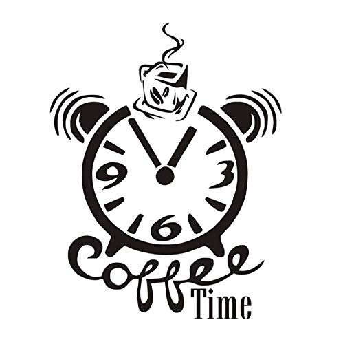 Wangyy Tatuajes De Pared Café Tiempo Reloj Etiqueta De La Pared Negro Pvc Impermeable Creativo Moderno Decoración Decoración Del Hogar Arte Mural De La Pared 46 Cm X 59 Cm