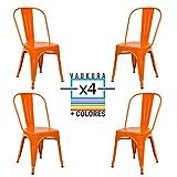 Vaukura Silla Tolix(Pack 4) - Silla Industrial Metálica Brillo (Naranja)