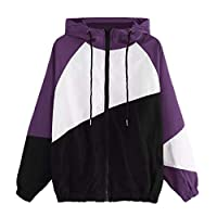 Women Coat Jacket Autumn Winter Long Sleeve Patchwork Hoodies Thin Skin-Suits Hooded Zipper Casual Windproof Sport Coat Outwear for Teen Girls Ladies