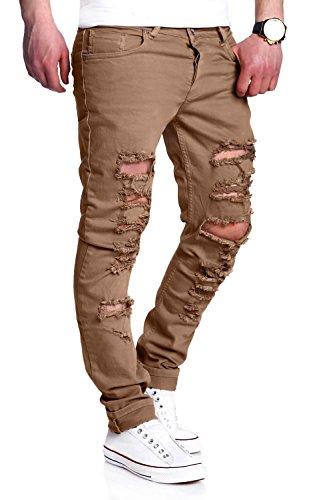MT Styles Destroyed Jeans Slim Fit RJ-2094 Beige