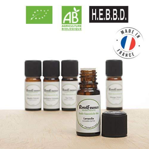 Pack 5 Biologisches ätherisches Öl : Pfefferminze, Lavandín, Tea Trea, Süß Orange, Niaouli : 10 ml - 100% rein und natürlich - 10 Ml Natürlicher