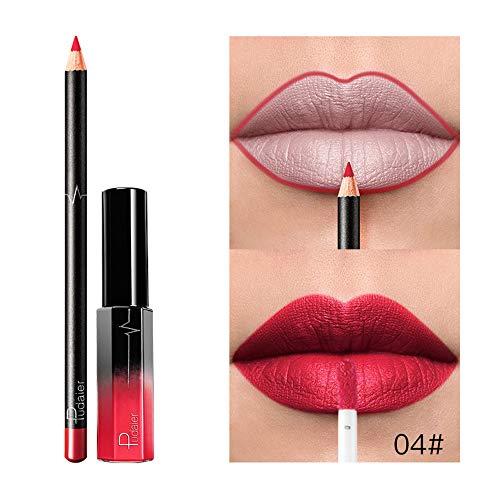 Dtuta Set De CosméTiques De Maquillage De Longue DuréE ImperméAble Rouge Brillant à LèVres Liquide Mat Brillant