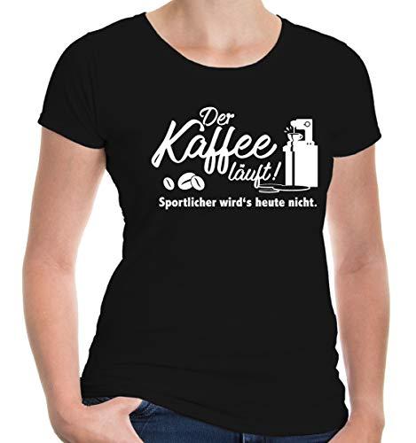 buXsbaum® Damen Girlie T-Shirt Der Kaffee läuft | Spruch Fun | XXL, ()