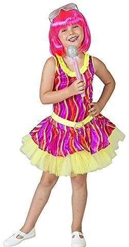 Disco Queen Kostüm Striped für Mädchen Gr. 140 (70er Jahre Disco-kostüme Für Kinder)