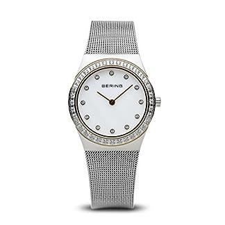 Bering Classic – Reloj analógico de mujer de cuarzo con correa de acero inoxidable plateada – sumergible a 50 metros