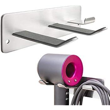 Capiente porta piastra in metallo perfetto per il bagno argento opaco Porta asciugacapelli a muro con scomparti e un ripiano mDesign Portaphon da montare alla parete
