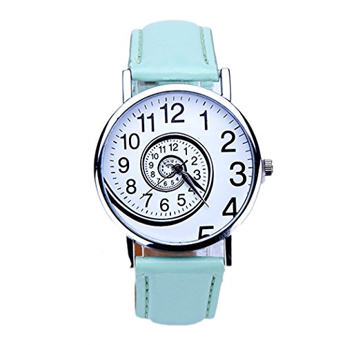 Vovotrade Uhren Damen Swirl Grafik Faux Leder Band analog Quartz Movement (Grün)